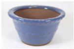 Bonsai Pot, Round (P), 11cm, Blue (Light), Glazed